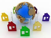 Eco houses with wind turbines and earth, environmentally friendly — Stock Photo