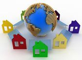 Ecological houses with solar panels and earth — Stock Photo