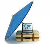 Search by means of computer of route for a trip — Stock Photo