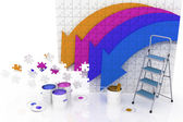 Picture with arrows and step-ladder with paints on a white background — Stock Photo