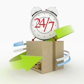 Executing online delivery of goods in the stream 24 hours. Logistics concept — Stock Photo