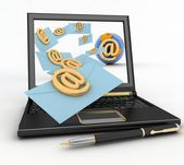 Laptop with incoming letters via e-mail. 3d render illustration — Stock Photo