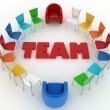 Chairs stand around the word team — Stock Photo