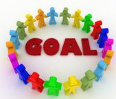 People stand around the word goal. Conception of cooperation — Stock Photo