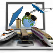 Traffic resources with suitcase, globe and umbrella on laptop screen. Travel and vacation concept — Stock Photo #46682655