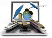 Traffic resources with suitcase, globe and umbrella on laptop screen. Travel and vacation concept — Stock Photo