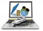 Yacht with suitcase, globe and umbrella on laptop screen. Travel and vacation concept — Stock Photo