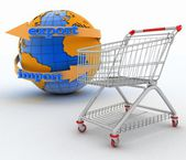 Shopping cart with a globe.  Direction concept — Stock Photo