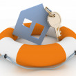 House insurance concept. Icon of House in Life Buoy — Stock Photo