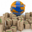 Import and export arrow around earth for business. Concept of buying goods worldwide. — Stock Photo #47239319