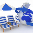 Concept of sea cruise. Passenger ship and  furniture for beach — Stock Photo #47523791
