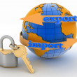 Lock with key and globe. Secure concept of international business. — Stock Photo #47794677