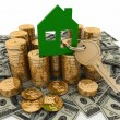 3d house symbol with key on Pile of money. Conception of growth of mortgage credit — Stock Photo