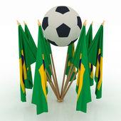 Balón de fútbol con banderas de brasil — Foto de Stock