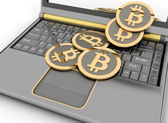 Bitcoins on laptop. Conception of electronic earnings. — Photo