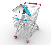 3d model house in a shopping cart — Stock Photo