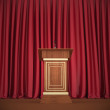 Podium and microphone in the center of the theatrical stage — Stock Photo #48695479