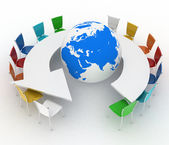 Conference table as an arrow with globe. Concept of global politics, diplomacy, environment, world leadership — Stock Photo