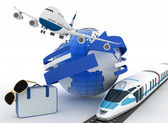 3d suitcase, airplane, train and globe. Travel and vacation concept — Stock Photo