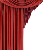 Open red theater curtain, background — Stok fotoğraf