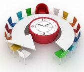 Group of office chairs at a table as an clock put by a half-round — Stock Photo