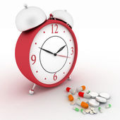 Medicine pills and red retro alarm clock. Conception of reception of pills on hours — Stock Photo