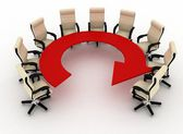 Group of office chairs stands at a table as an arrow — Stock Photo