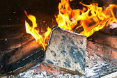 Fire in a barbecue — Stock Photo