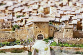 Panoramic view of Xativa, Valencia, Spain. Medieval representation. — Stock Photo