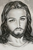 Handmade fabric portrait of Jesus Christ — Stock Photo