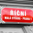 Sign in street in Prague, Czech Republic — Stock Photo #40605579