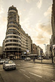 MADRID - SEPTEMBER 08: view of Gran Via street on September 08, 2013 in Madrid, Spain. It is most important avenues at city — Stock Photo