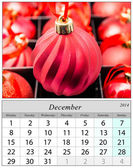 Calendar December 2014. Chritsmas ornaments. — Stock Photo