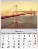 Calendar January 2014. Lisbon, Portugal. — Stock Photo