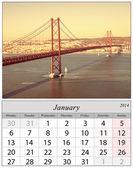 Calendar January 2014. Lisbon, Portugal. — Stock Photo
