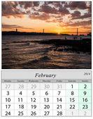 Calendar February 2014. Lisbon, Portugal. — Stock Photo