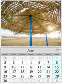 Calendar June 2014. Beach in Malaga, Spain. — 图库照片