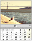 Calendar May 2014. Lisbon, Portugal. — Stock Photo