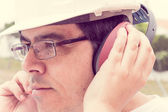 Ear muff to protect workers' ears  — Stock Photo