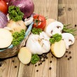 Different Vegetables in a basket — Stock Photo