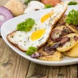 Plate with fried Potatoes and Egg — Stock Photo
