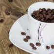 Cup filled with Coffee Beans — Stock Photo