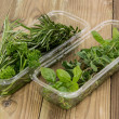 Box with fresh Herbs - Stock Photo