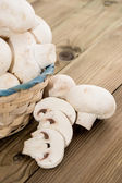 Group of Mushrooms in a basket — Stock Photo