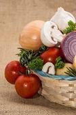 Vegetables on brown background — Stockfoto