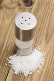 Saltshaker with Salt on wood — Stock Photo