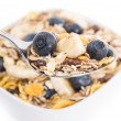 Muesli with Blueberries on a spoon - Foto Stock