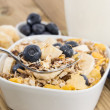 Muesli with Blueberries on a bowl — Stock Photo