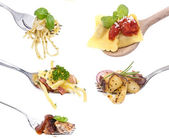 Different food on Forks — Stock Photo