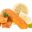 Fish Fingers with lemon pieces on white — Stock Photo